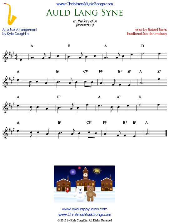 Auld Lang Syne alto saxophone sheet music, arranged to play along with other wind and brass instruments.