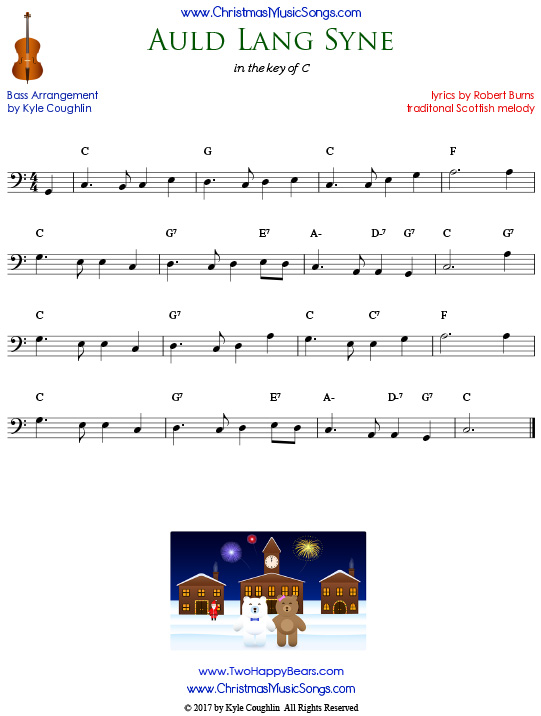 Auld Lang Syne for bass, arranged to play along with strings, woodwinds, and brass.
