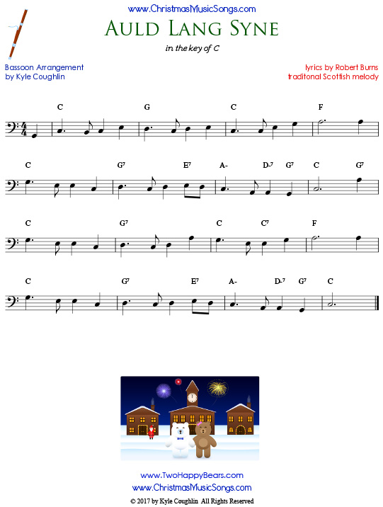 Auld Lang Syne bassoon sheet music, arranged to play along with other wind, brass, and string instruments.