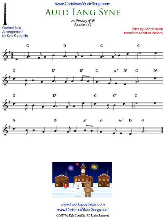 Auld Lang Syne sheet music for clarinet solo.