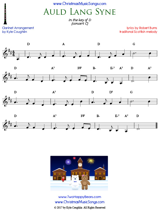 Auld Lang Syne clarinet sheet music, arranged to play along with other wind and brass instruments.