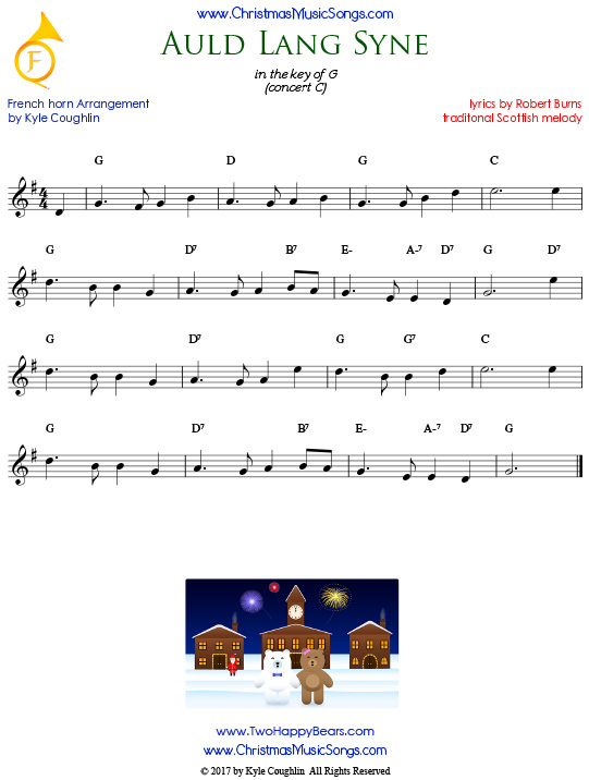 Auld Lang Syne French horn sheet music, arranged to play along with other wind, brass, and string instruments.