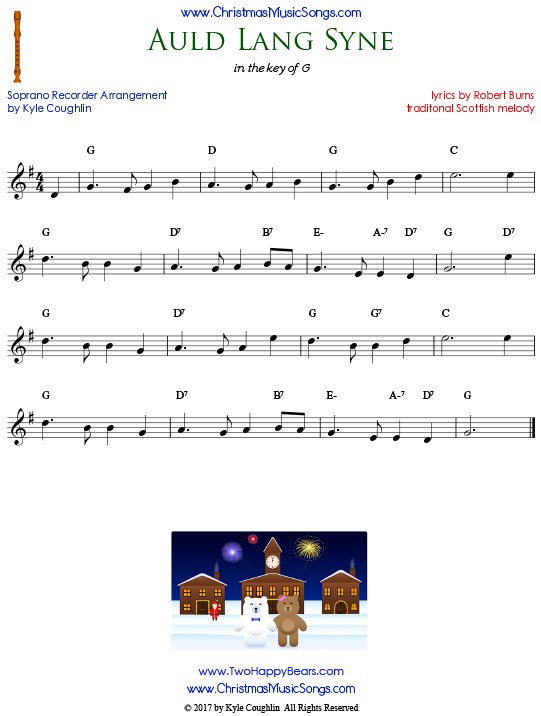 Auld Lang Syne, arranged for recorder in the key of G.