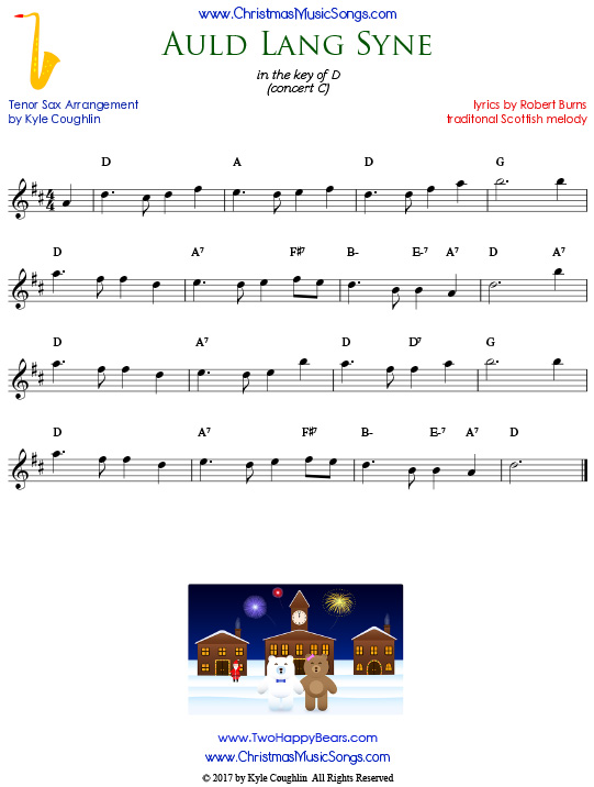 Auld Lang Syne tenor saxophone sheet music, arranged to play along with other wind and brass instruments.