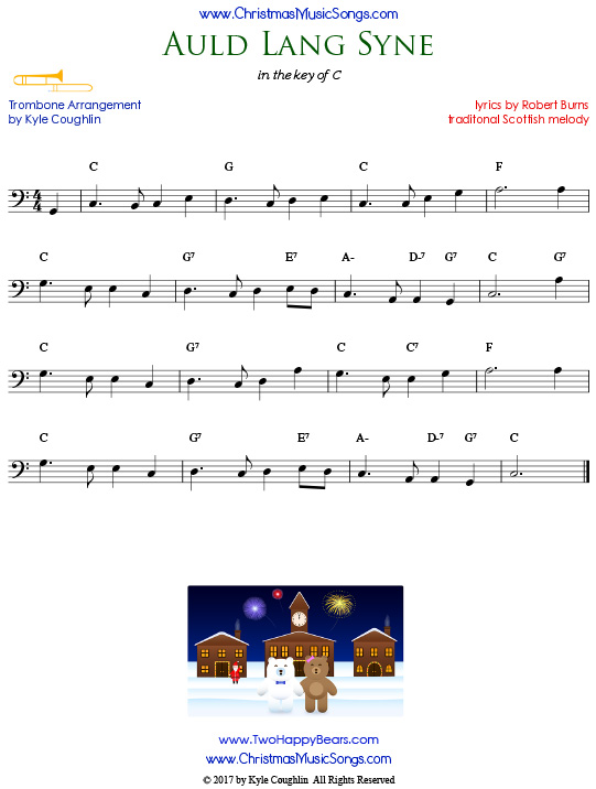 Auld Lang Syne trombone sheet music, arranged to play along with other wind, brass, and string instruments.