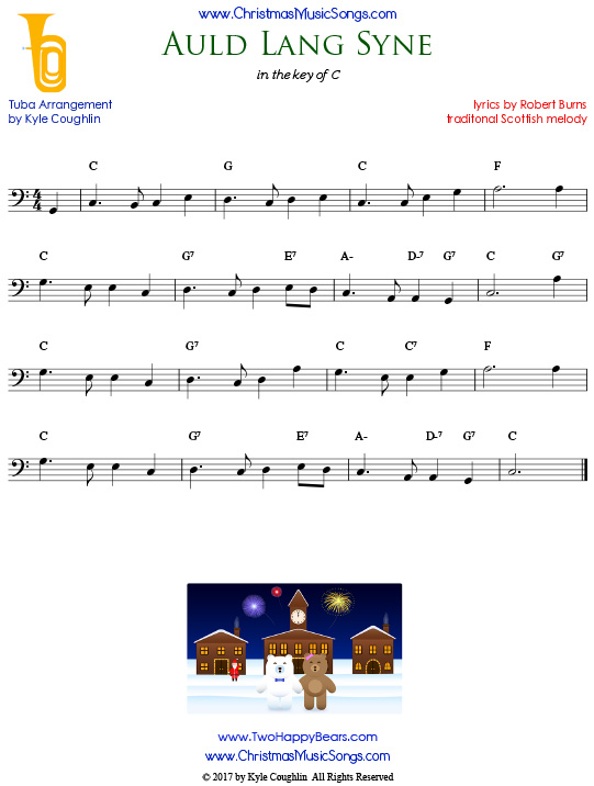 Auld Lang Syne tuba sheet music, arranged to play along with other wind, brass, and string instruments.