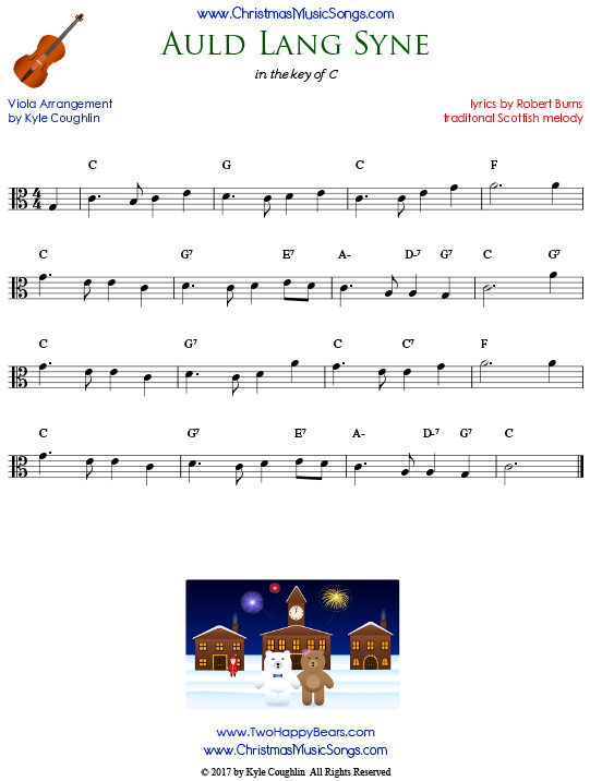 Auld Lang Syne for viola, arranged to play along with strings, woodwinds, and brass.