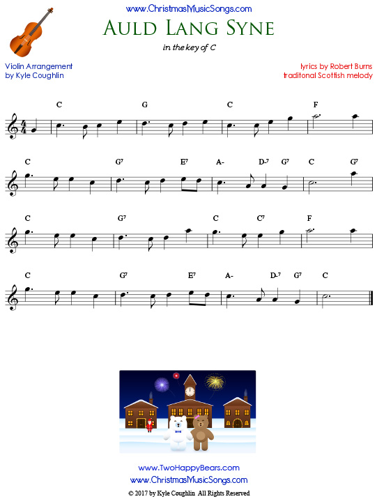 Auld Lang Syne for violin, arranged to play along with strings, woodwinds, and brass.