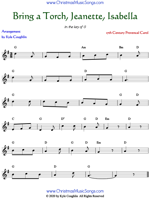 Sheet music for Bring a Torch, Jeanette, Isabella. Free printable PDF.