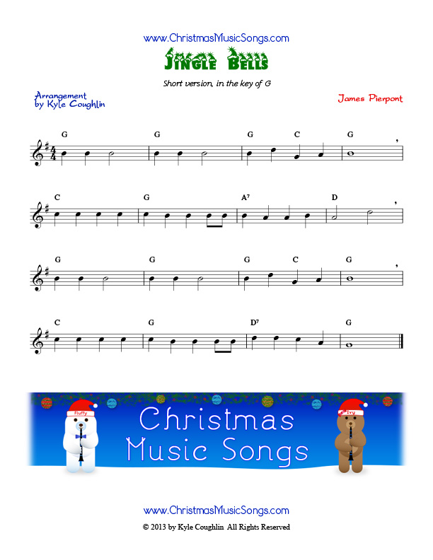 Free sheet music for Jingle Bells and over two dozen more Christmas carols.
