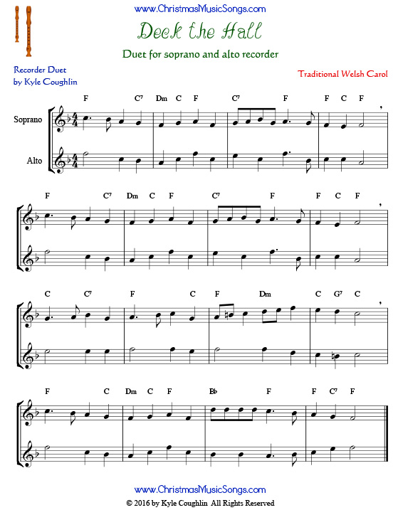 Free printable PDF of Deck the Halls for recorder duet.