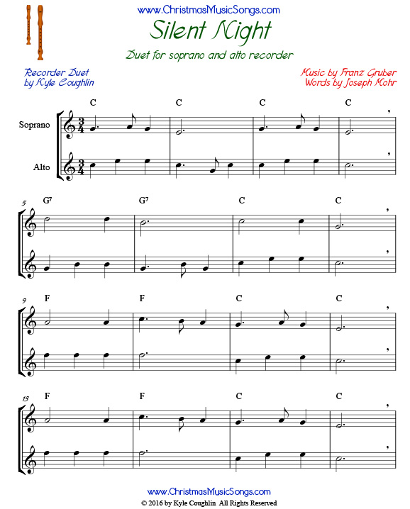 Free Christmas Song Duets For Recorder